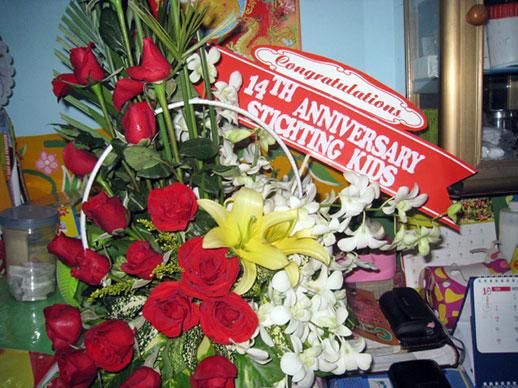 Bleomstuk voor 14jarig bestaan Sunflower House Vietnam
