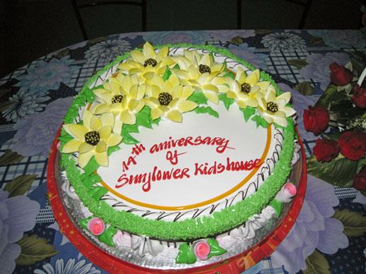 Taart ter gelegenheid 14jarig bestaan Sunflower House